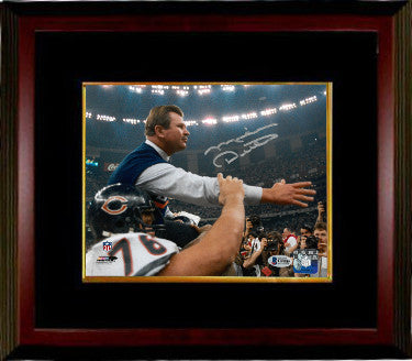 Mike Ditka signed Chicago Bears Super Bowl XX Coaching 8x10 Photo Custom Framed (Carryoff)- Beckett Witnessed Hologram PSM-Powers Sports Memorabilia