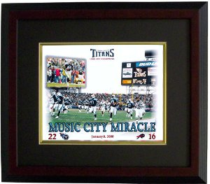 Music City Miracle unsigned Tennessee Titans 16X20 Photo Custom Wood Framing PSM-Powers Sports Memorabilia
