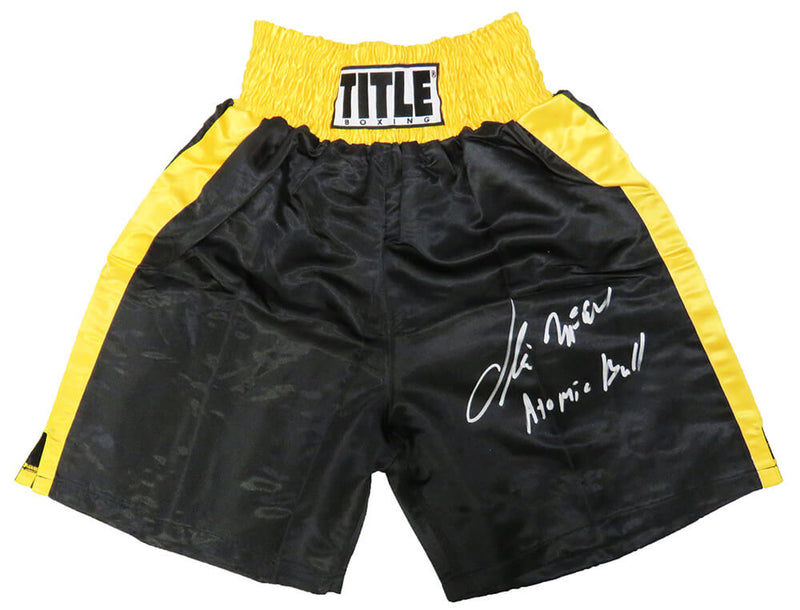 Oliver McCall Signed Title Black With Gold Trim Boxing Trunks w/Atomic Bull PSM-Powers Sports Memorabilia