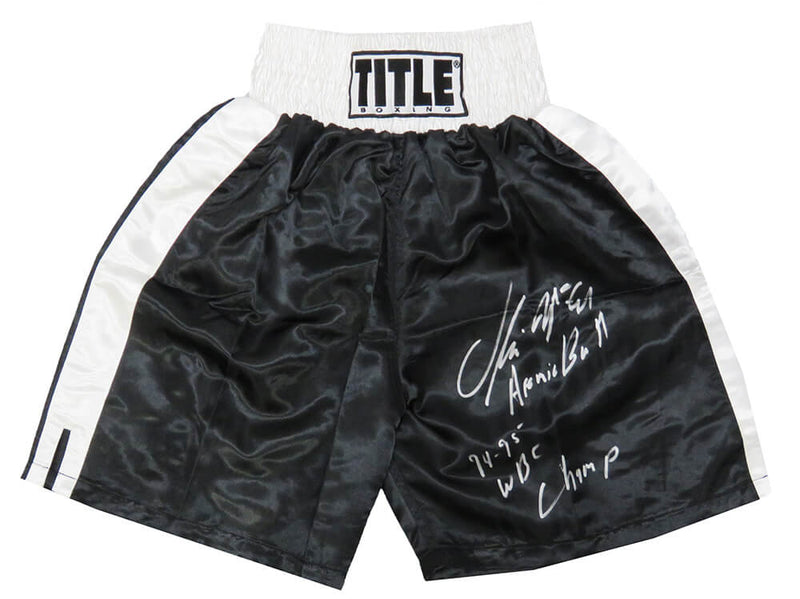 Oliver McCall Signed Title Black With White Trim Boxing Trunks w/Atomic Bull, 94-95 WBC Champ PSM-Powers Sports Memorabilia