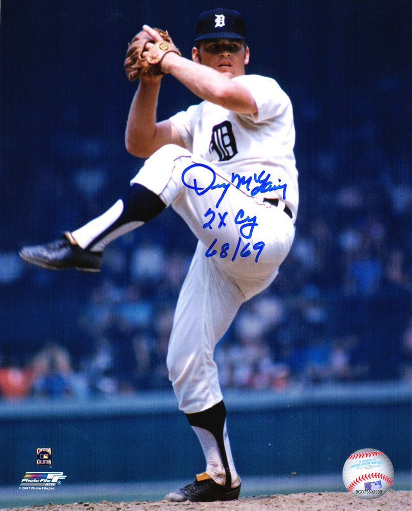 Denny McLain Signed Detroit Tigers Pitching 8x10 Photo w/2x CY 68,69 PSM-Powers Sports Memorabilia