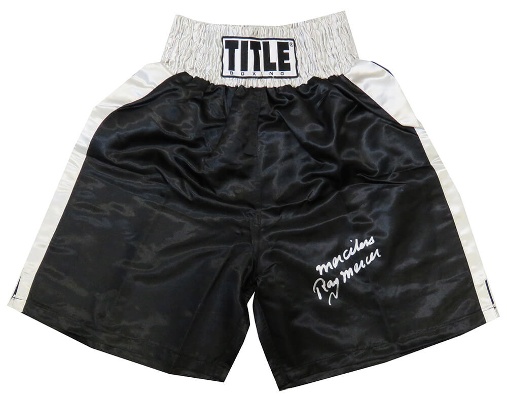 Ray Mercer Signed Title Black With Silver Waist Boxing Trunks w/Merciless PSM-Powers Sports Memorabilia
