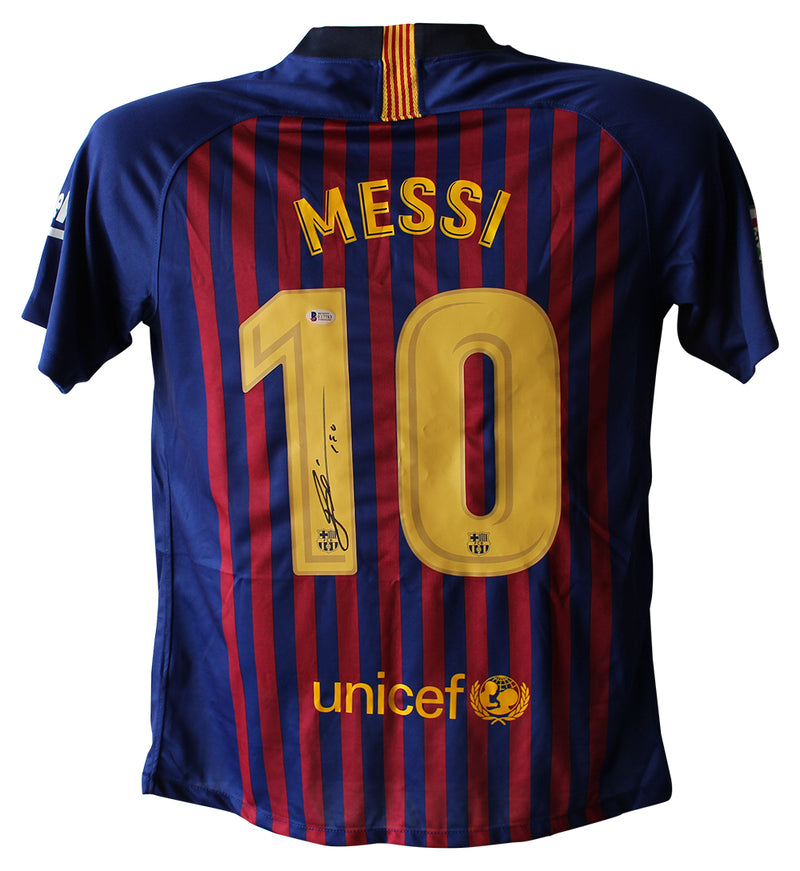 Lionel Messi Autographed/Signed FC Barcelona Home Blue XL Jersey BAS PSM-Powers Sports Memorabilia