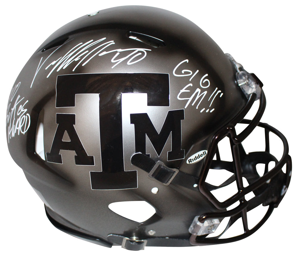Von Miller Signed Texas A&M Aggies Authentic Ice Hydro Helmet 2 Insc JSA PSM-Powers Sports Memorabilia