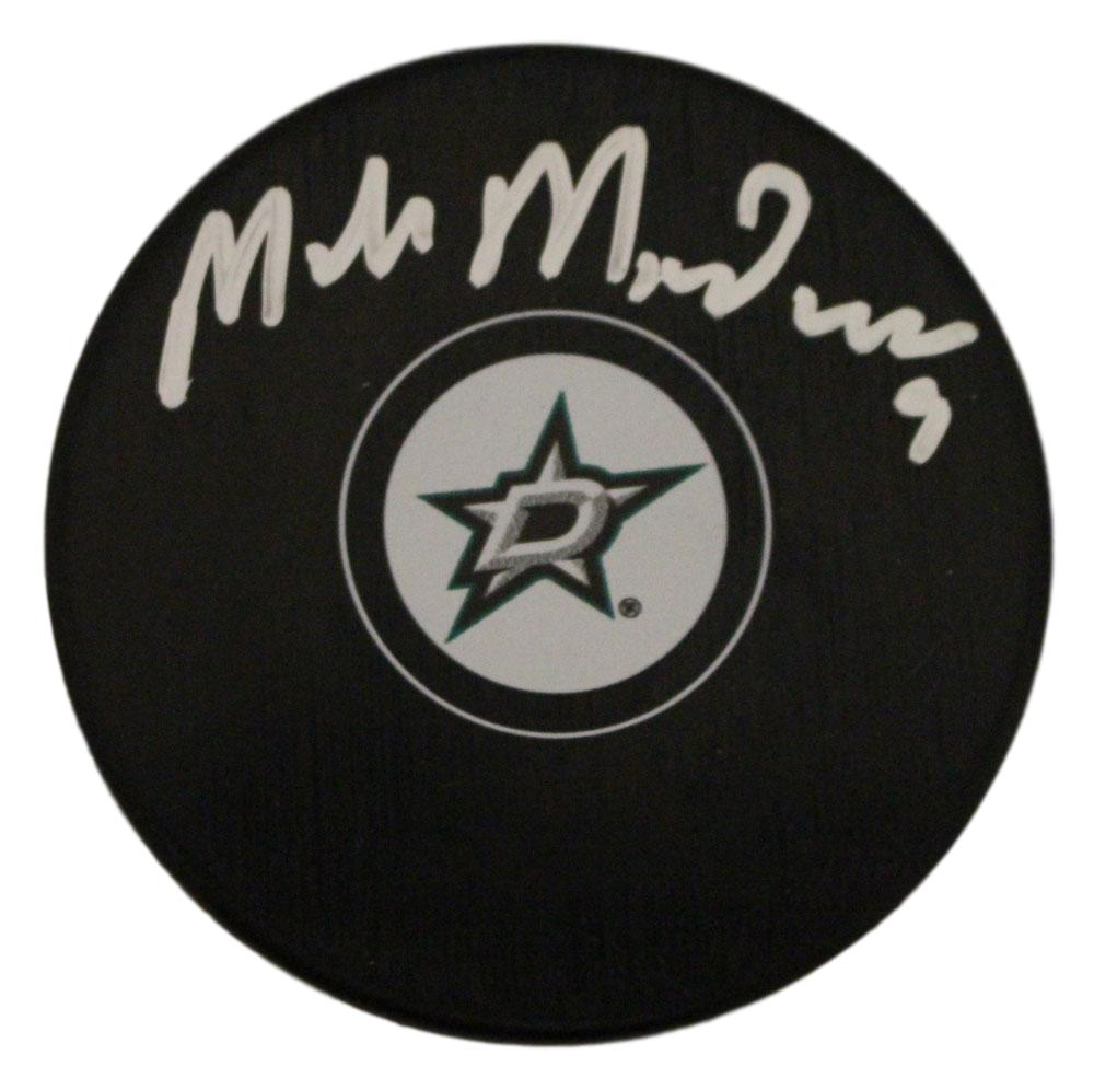 Mike Modano Autographed/Signed Dallas Stars Logo Hockey Puck BAS PSM-Powers Sports Memorabilia