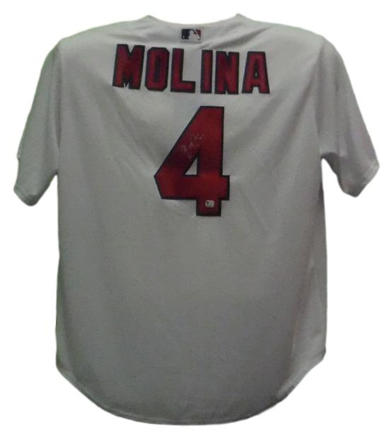 Yadier Molina Autographed St Louis Cardinals Majestic White Replica Jersey PSM-Powers Sports Memorabilia