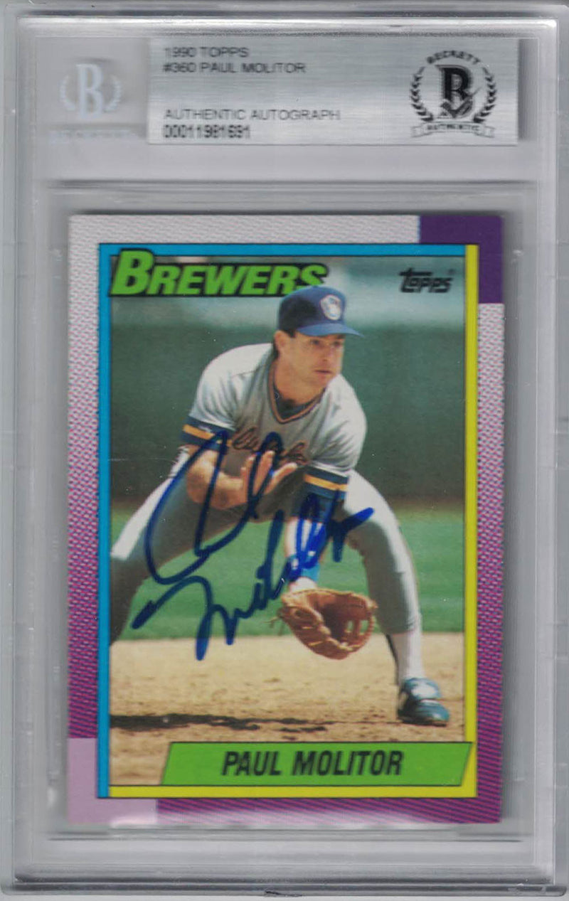 Phil Niekro Signed Milwaukee Brewers 1990 Topps #360 Trading Card BAS PSM-Powers Sports Memorabilia