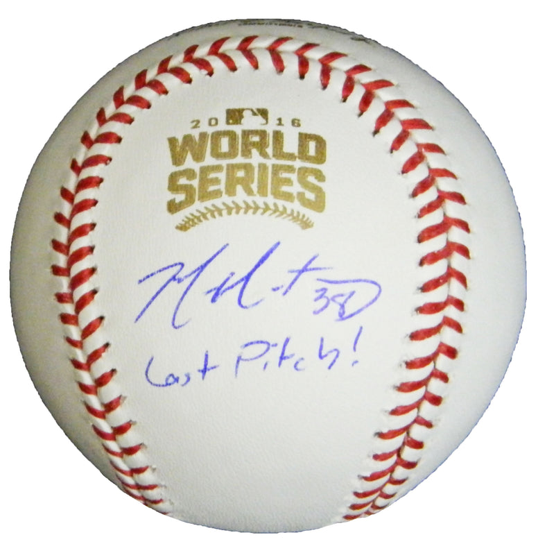 Mike Montgomery Signed Rawlings Official 2016 World Series MLB Baseball w/Last Pitch PSM-Powers Sports Memorabilia