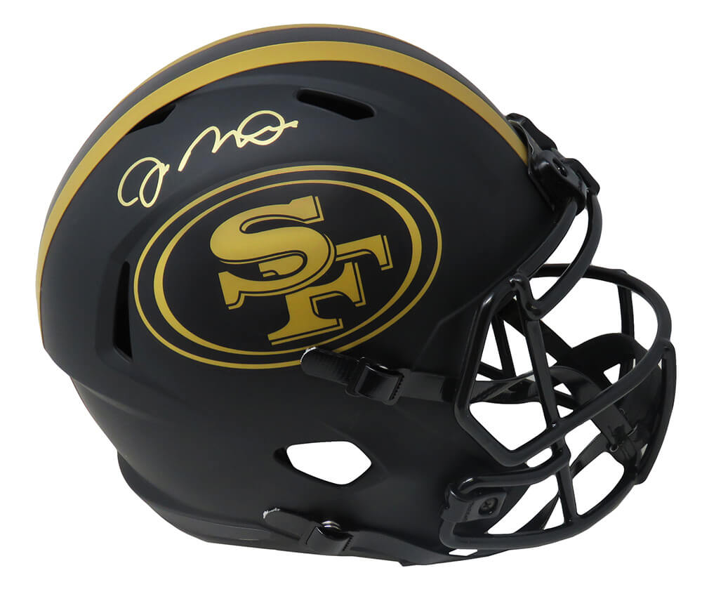 Joe Montana Signed San Francisco 49ers Eclipse Black Matte Riddell Speed Full Size Replica Helmet PSM-Powers Sports Memorabilia