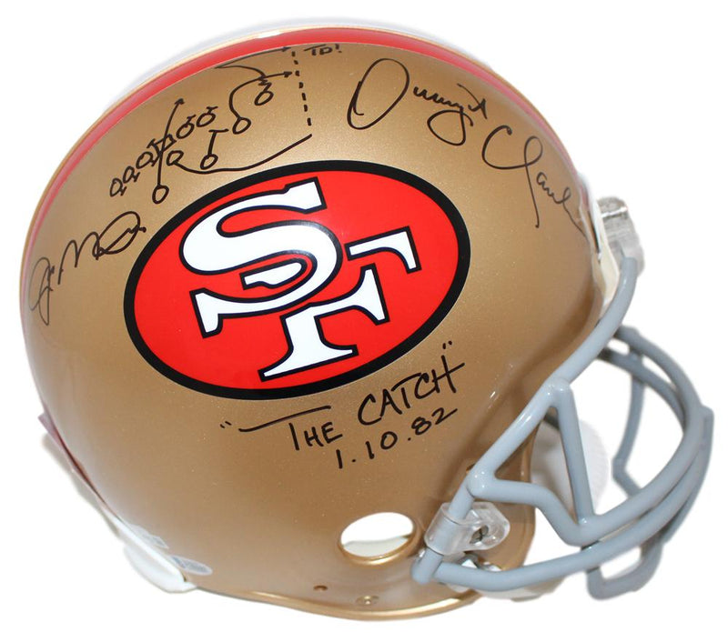 Joe Montana & Dwight Clark Signed San Francisco 49ers Authentic Helmet BAS PSM-Powers Sports Memorabilia