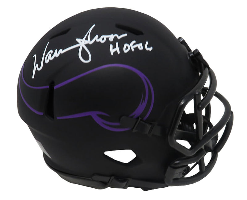 Warren Moon Signed Minnesota Vikings Eclipse Black Matte Riddell Speed Mini Helmet w/HOF'06 PSM-Powers Sports Memorabilia