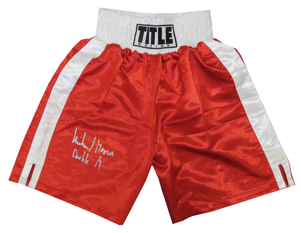 Michael Moorer Signed Title Red Boxing Trunks w/Double M PSM-Powers Sports Memorabilia