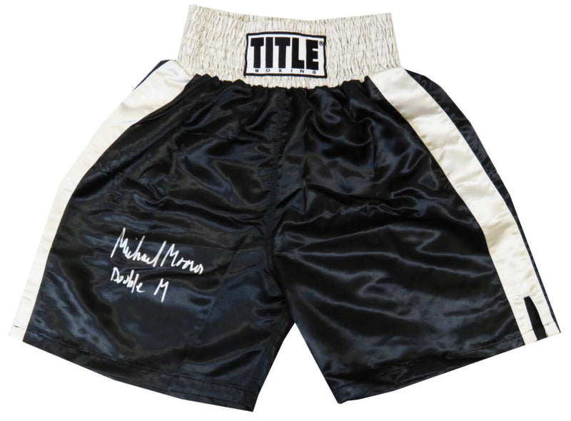 Michael Moorer Signed Title Black With Silver Waist Boxing Trunks w/Double M PSM-Powers Sports Memorabilia