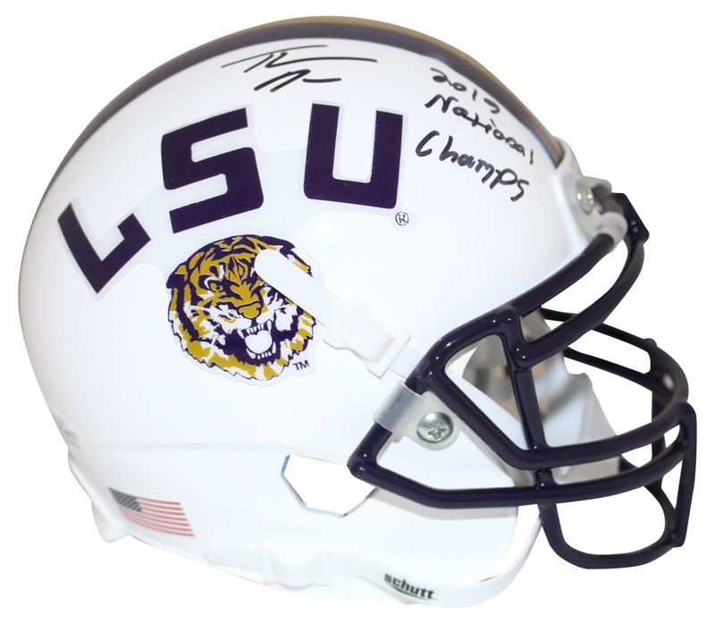 Thaddeus Moss Signed LSU Tigers White Mini Helmet National Champs BAS PSM-Powers Sports Memorabilia
