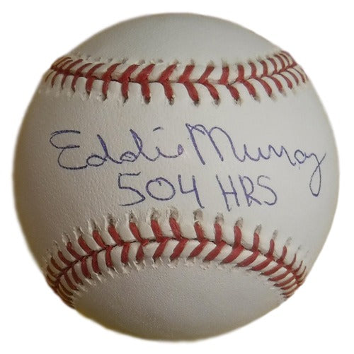 Eddie Murray Autographed Baltimore Orioles OML Baseball 504 HRS JSA PSM-Powers Sports Memorabilia