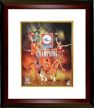 Philadelphia 76ers signed 16x20 Photo Custom Framed Collage 1983 NBA Champions w/ 6 Signatures PSM