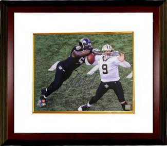 Terrell Suggs signed Baltimore Ravens 16x20 Photo Custom Framed sacking Drew Brees PSM-Powers Sports Memorabilia