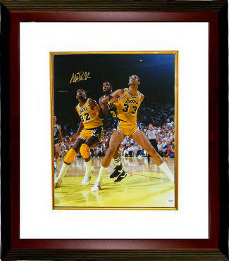 Magic Johnson signed Los Angeles Lakers 16x20 Photo Custom Framed (vs Kareem Abdul-Jabbar)- PSA Hologram PSM-Powers Sports Memorabilia