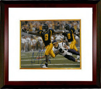 Adam Pacman Jones signed West Virginia Mountaineers 8x10 Photo #9 Custom Framed (navy jersey) PSM-Powers Sports Memorabilia