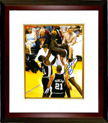 Shaquille O'Neal signed Los Angeles Lakers 8x10 Photo Custom Framed (vs Spurs) PSM-Powers Sports Memorabilia