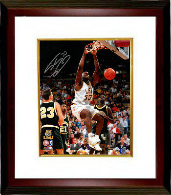 Shaquille O'Neal signed LSU Tigers 16x20 Photo Custom Framed #33 (white jersey dunk) PSM-Powers Sports Memorabilia