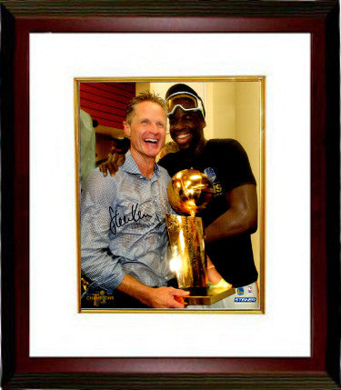 Steve Kerr signed Golden State Warriors 8x10 Photo Custom Framing (Holding 2017 NBA Champs trophy w/ Draymond Green) PSM-Powers Sports Memorabilia