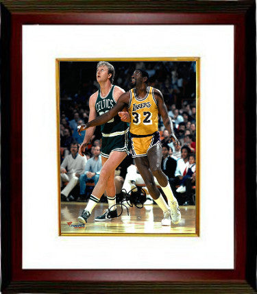Larry Bird signed Boston Celtics 8x10 Photo Custom Framing (vs Magic Johnson) - JSA Hologram PSM-Powers Sports Memorabilia