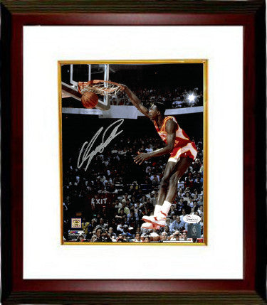 Dominique Wilkins signed Atlanta Hawks 8x10 Photo Custom Framed (dunk contest)- JSA Witnessed Hologram PSM-Powers Sports Memorabilia