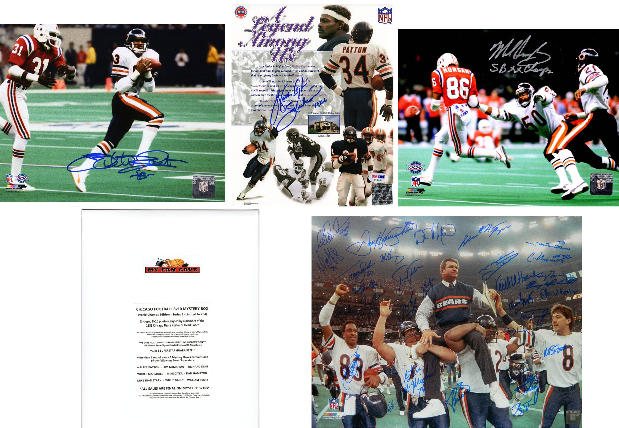Chicago Bears Signed Mystery Box 8x10 Photo World Champions Edition - Series 2 - (Limited to 234) *Walter Payton & 1985 Bears Team Photo Redemptions* PSM-Powers Sports Memorabilia