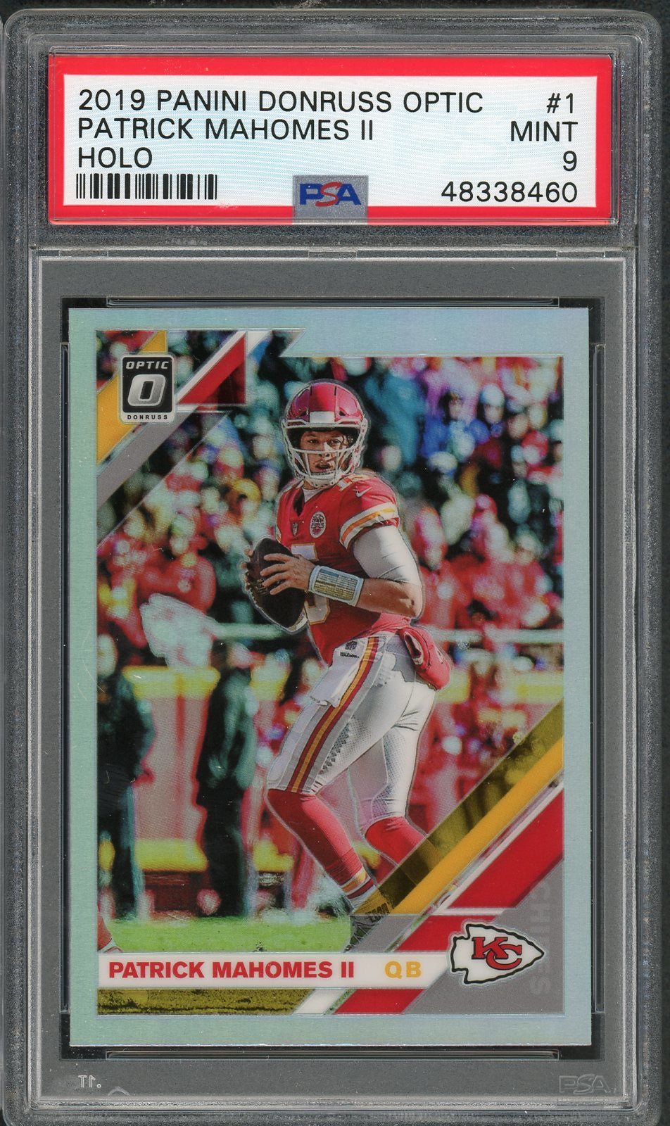 Patrick Mahomes 2019 Panini Donruss Optic Holo Prizm Football Card #1 Graded PSA 9 MINT-Powers Sports Memorabilia
