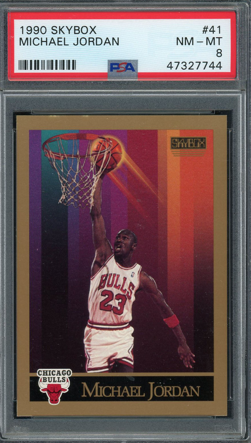 Michael Jordan Chicago Bulls 1990 Skybox Basketball Card #41 Graded PSA 8-Powers Sports Memorabilia