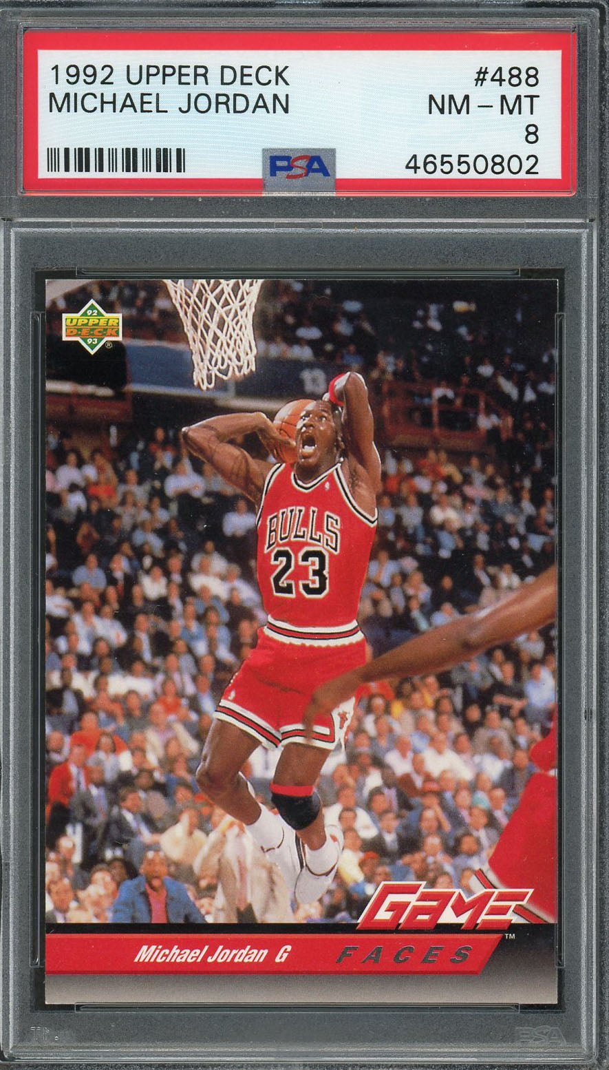 Michael Jordan Chicago Bulls 1992 Upper Deck Basketball Card #488 Graded PSA 8-Powers Sports Memorabilia