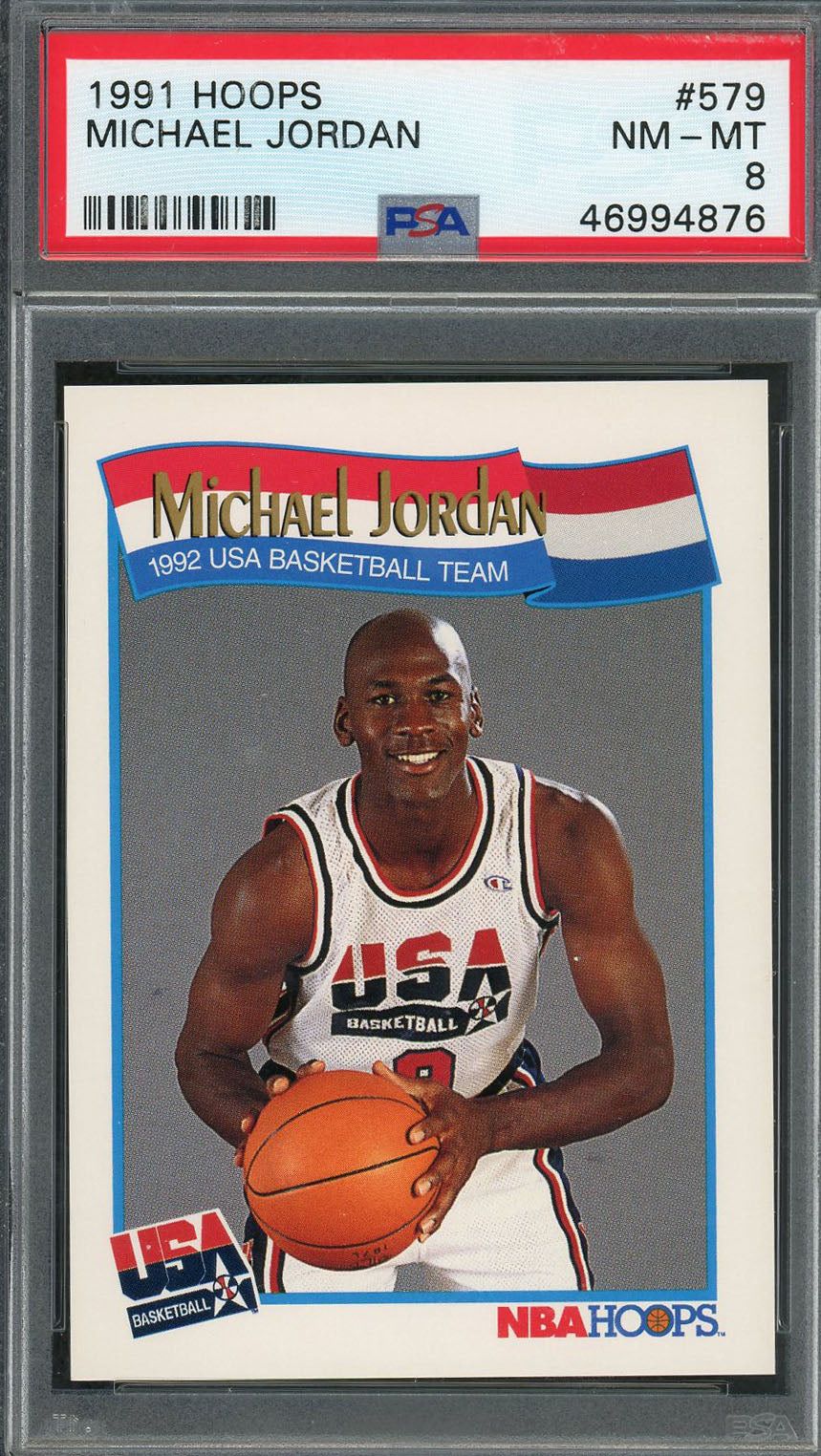 Michael Jordan Team USA Dream Team 1991 Hoops Basketball Card #579 Graded PSA 8-Powers Sports Memorabilia