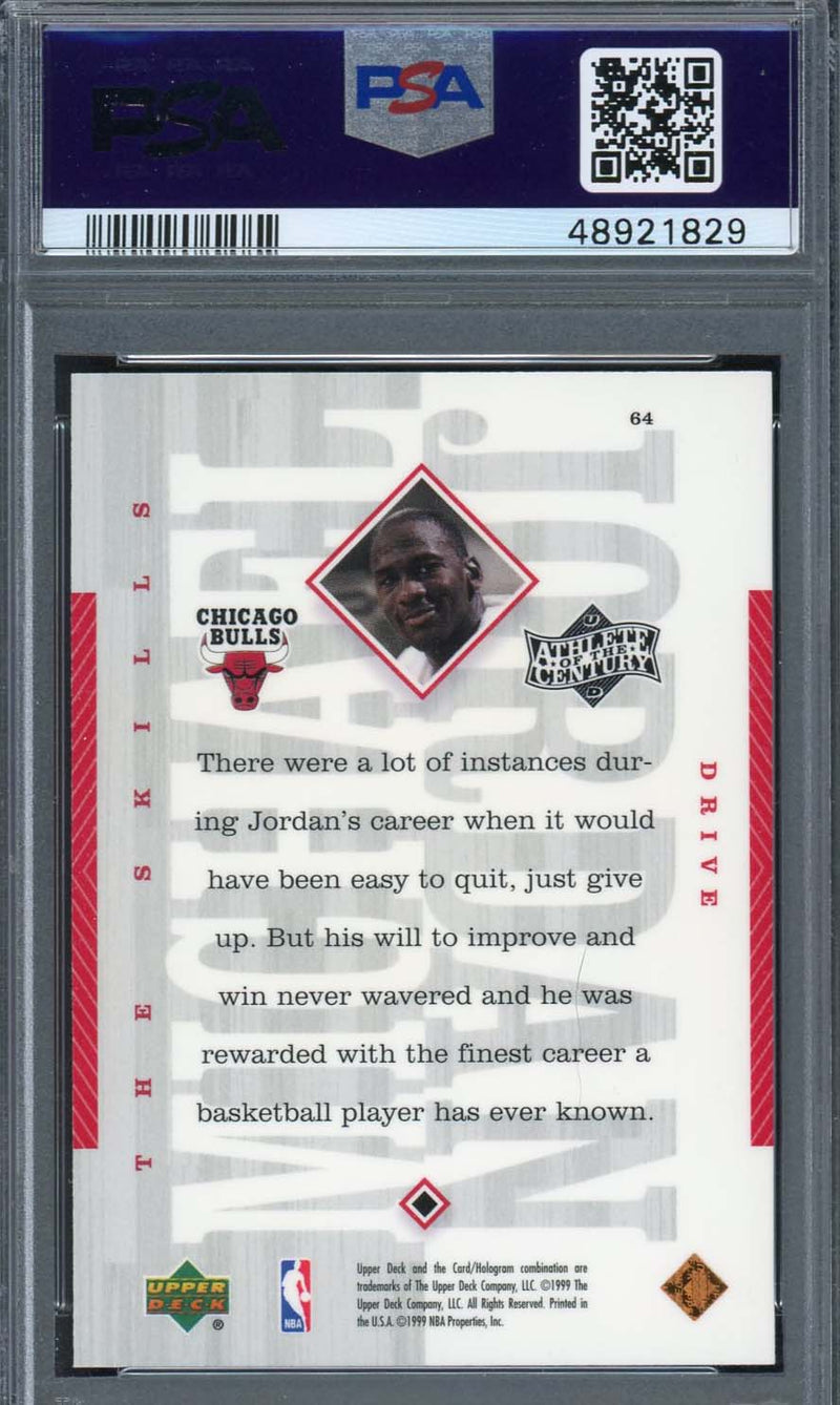 Michael Jordan Chicago Bulls 1999 Upper Deck Athlete of the Century Basketball Card #64 Graded PSA 9 MINT-Powers Sports Memorabilia