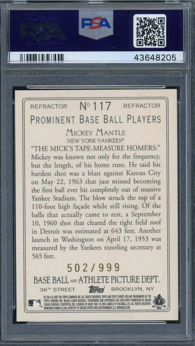 Mickey Mantle New York Yankees 2007 Topps Turkey Red Chrome Refractor Baseball Card #117 Graded PSA 10 GEM MINT /999-Powers Sports Memorabilia