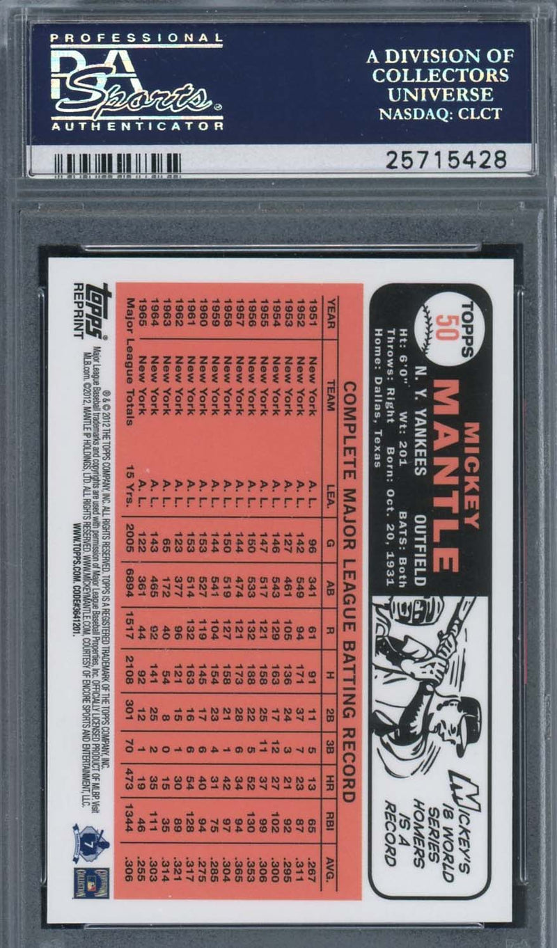 Mickey Mantle 2012 Topps Mantle 1966 Reprint Gold Ref Baseball Card #50 Graded PSA 10 GEM MINT-Powers Sports Memorabilia