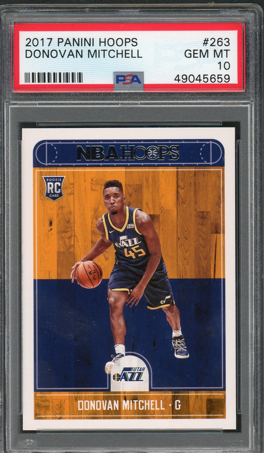 Donovan Mitchell Utah Jazz 2017 Panini Hoops Basketball Rookie Card RC #263 Graded PSA 10 GEM MINT-Powers Sports Memorabilia