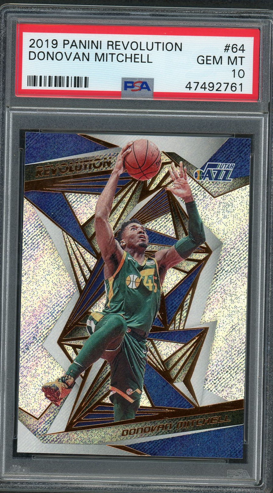 Donovan Mitchell Utah Jazz 2019 Panini Revolution Basketball Card #64 Graded PSA 10 GEM MINT-Powers Sports Memorabilia