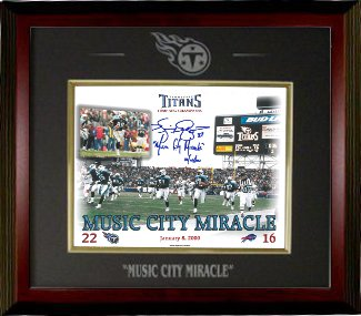 Music City Miracle signed Tennessee Titans 8x10 Photo w/ Kevin Dyson signature Custom Engraved Logo Framed PSM-Powers Sports Memorabilia
