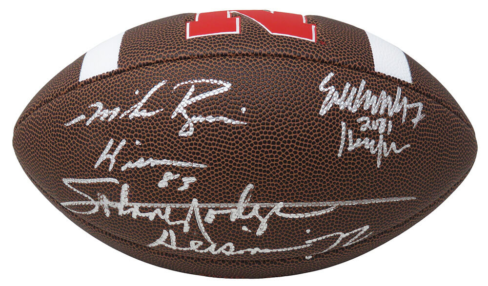 Johnny Rodgers, Mike Rozier & Eric Crouch Signed Nebraska Cornhuskers Logo Football w/HT YRs PSM-Powers Sports Memorabilia