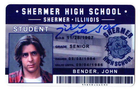 Judd Nelson Signed The Breakfast Club John Bender Shermer High School ID Card PSM-Powers Sports Memorabilia