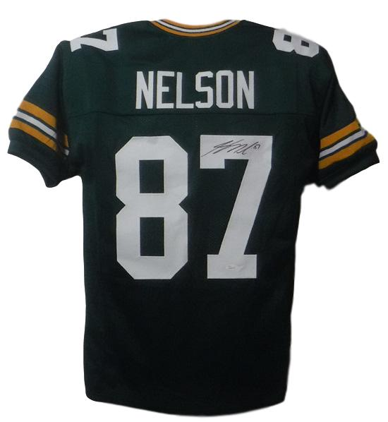 Jordy Nelson Autographed Green Bay Packers Custom Size XL Green Jersey JSA PSM-Powers Sports Memorabilia