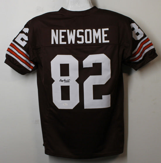 Ozzie Newsome Autographed Cleveland Browns Size XL Brown Jersey w/HOF 99 JSA PSM-Powers Sports Memorabilia