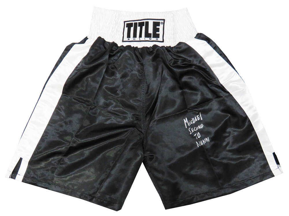 Michael Nunn Signed Title Black With White Trim Boxing Trunks w/Second To Nunn PSM-Powers Sports Memorabilia