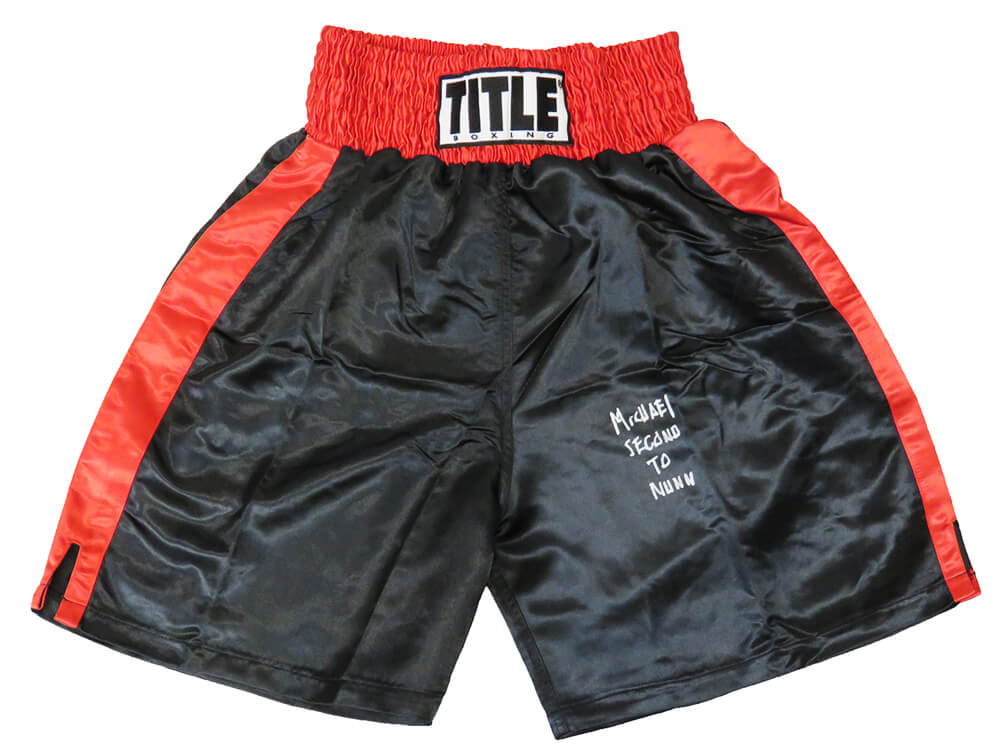 Michael Nunn Signed Title Black With Red Trim Boxing Trunks w/Second To Nunn PSM-Powers Sports Memorabilia