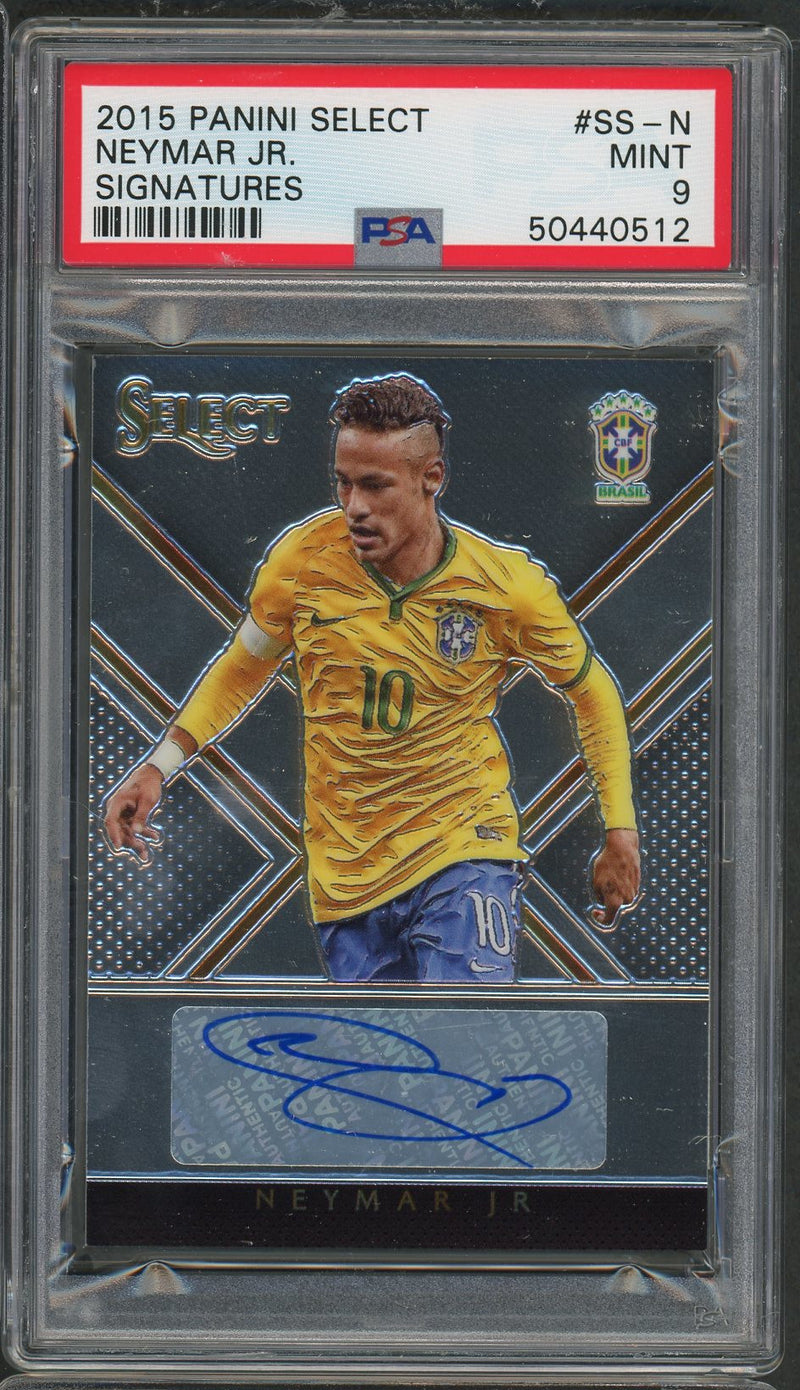 Neymar Jr Brazil 2015 Panini Select Signatures Soccer Autographed Card #SS-N Graded PSA 9 MINT 60/125-Powers Sports Memorabilia