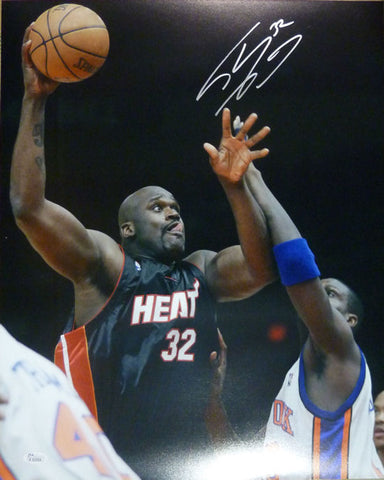 Shaquille Shaq Oneal Autographed Miami Heat 16x20 Photo Hook Black Jersey JSA PSM-Powers Sports Memorabilia