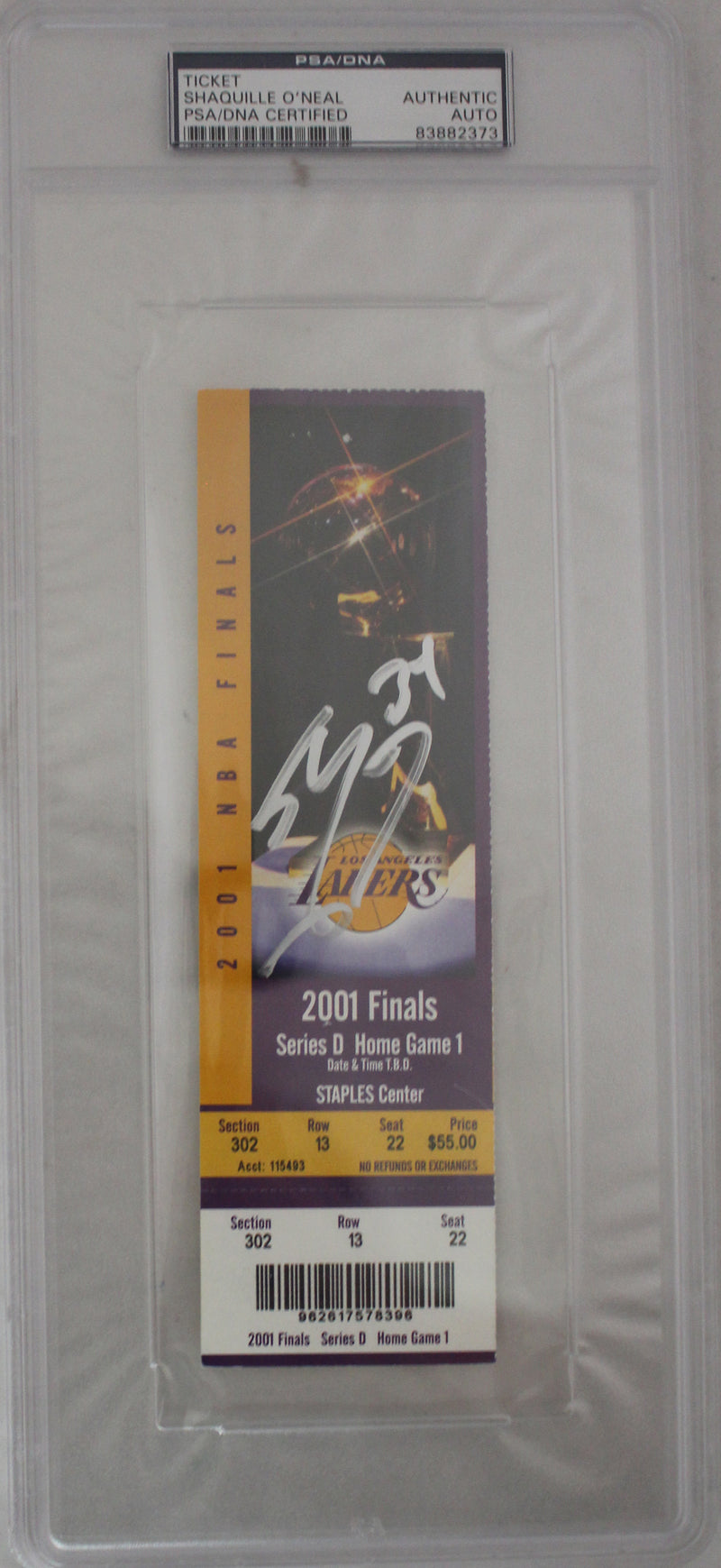 Shaquille O'neal Signed Los Angeles Lakers 2001 NBA Finals Ticket PSA Slab PSM