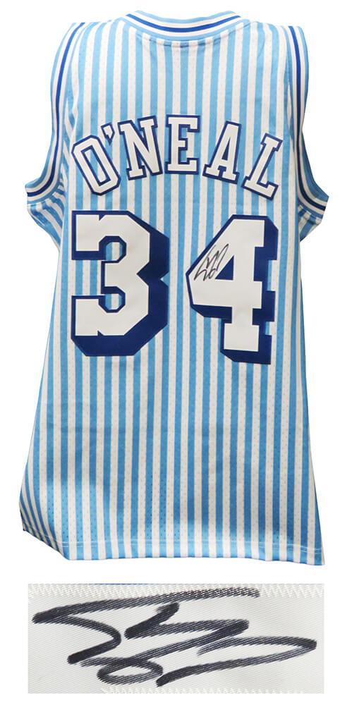 Shaquille O'Neal Signed Los Angeles Lakers Mitchell & Ness White & Blue Stripe NBA Swingman Basketball Jersey PSM-Powers Sports Memorabilia