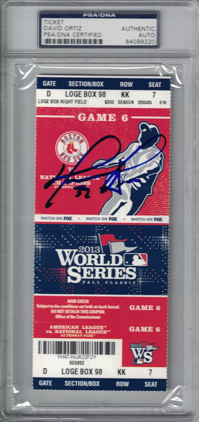 David Ortiz Signed Boston Red Sox 2013 World Series Game 6 Ticket PSA Slab PSM-Powers Sports Memorabilia